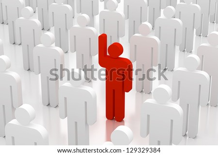 3d people volunteer with arm up - stock photo