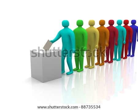 3d People waiting in line to vote. 3d render illustration - stock photo