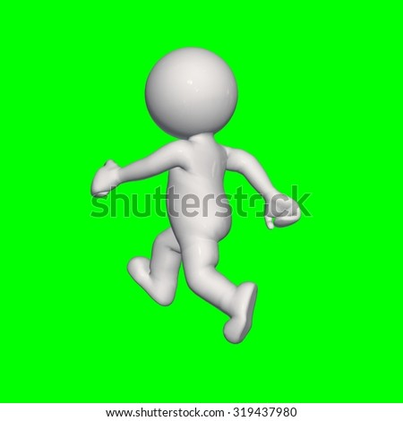 3D people -  walk - green screen