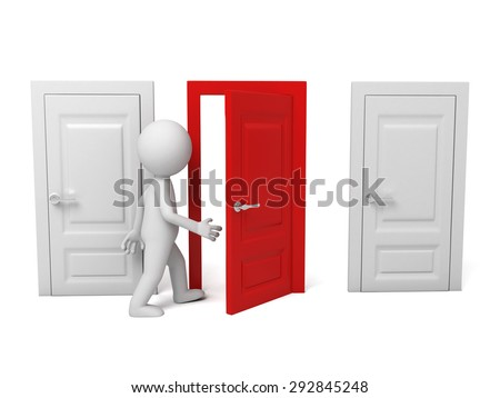 3d people walking into a different door. 3d image. Isolated white background