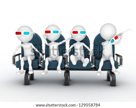 3d people watching 3d movie with sunglasses - stock photo