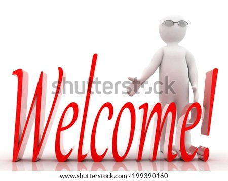 3D people Welcome! - stock photo