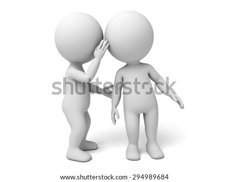 3d people whisper to another one. 3d image. Isolated white background. - stock photo