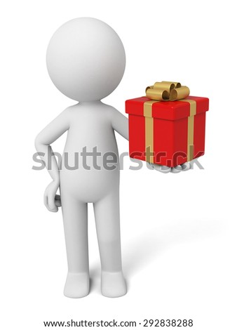3d people with a big gift box. 3d image. Isolated white background