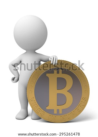 3d people with a bit-coin. 3d image. Isolated white background. - stock photo