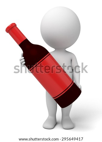 3d people with a bottle of wine. 3d image. Isolated white background