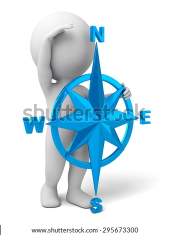 3d people with a compass. 3d image. Isolated white background. - stock photo