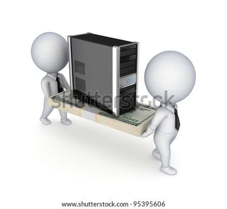 3d people with a dollar pack and PC.Isolated on white background. - stock photo