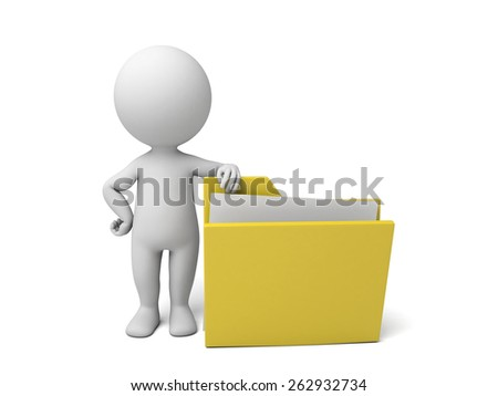 3d people with a folder. 3d image. Isolated white background - stock photo