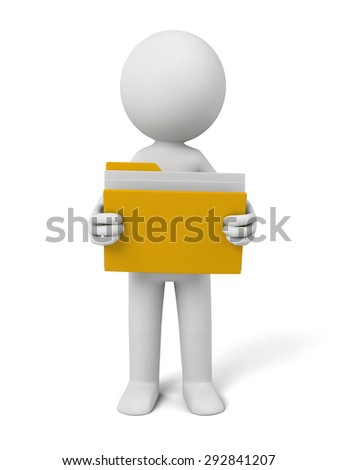 3d people with a folder. 3d image. Isolated white background