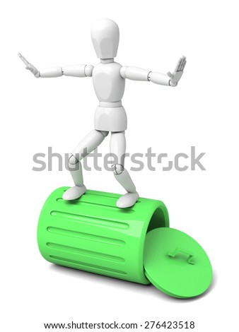 3d people with a green trash can. 3d image. Isolated white background - stock photo