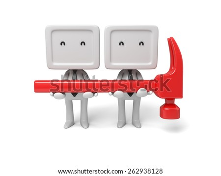 3d people with a hammer. 3d image. Isolated white background. - stock photo