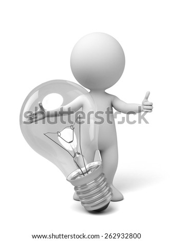 3d people with a lamp thinking. 3d image. Isolated white background