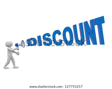3d people with a megaphone and word DISCOUNT. 3d render