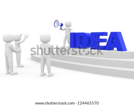 "3d people with a megaphone and word ""Idea"" . The is a 3d render illustration"