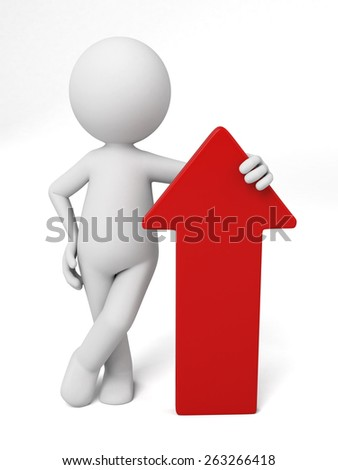 3d people with a red arrow. 3d image. Isolated white background - stock photo