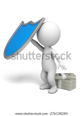 3d people with a shield, 3d image. Isolated white background.