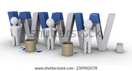 3d people with brushes are painting WWW letters - stock photo