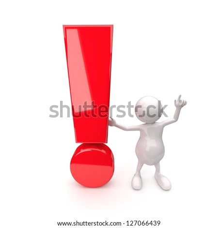 3D People with exclamation mark on White Background