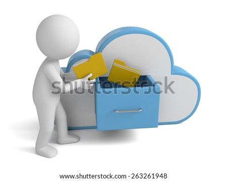 3d people with file storage and cloud. Cloud computing concept. 3d image. Isolated white background - stock photo