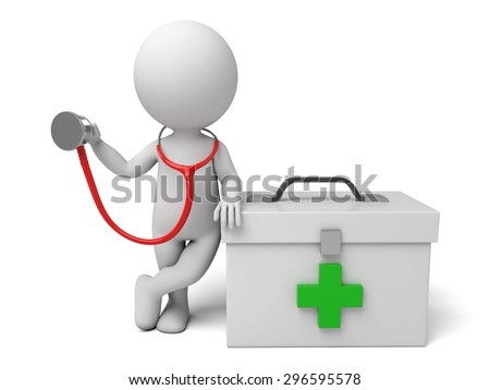 3d people with first aid box and a stethoscope. Doctor. 3d image. Isolated white background. - stock photo