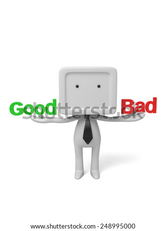 3d people with good and bad. 3d image. Isolated white background. - stock photo