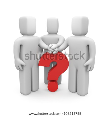 3d people with hands on top of question mark. Image contain clipping path - stock photo