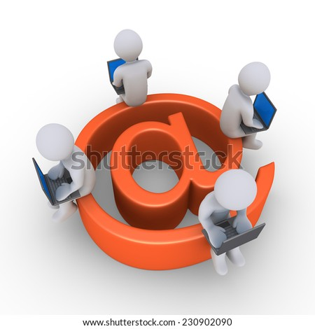 3d people with laptops are sitting on e-mail symbol - stock photo