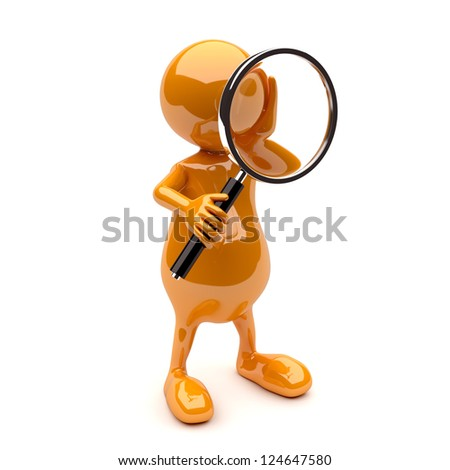 3D People with Magnifying Glass - stock photo