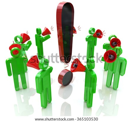 3D people with megaphones around the exclamation mark in the design of information related to people and communication - stock photo