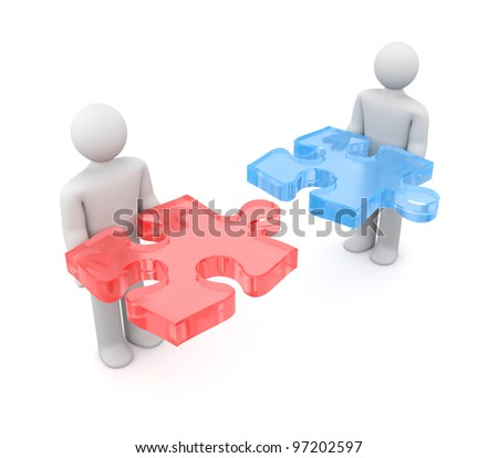3d people with puzzle. Image contain clipping path