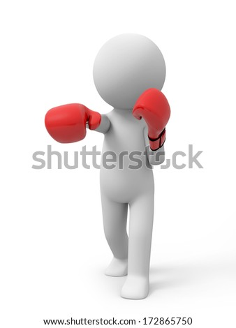 3d people with red boxing gloves. Boxer - stock photo