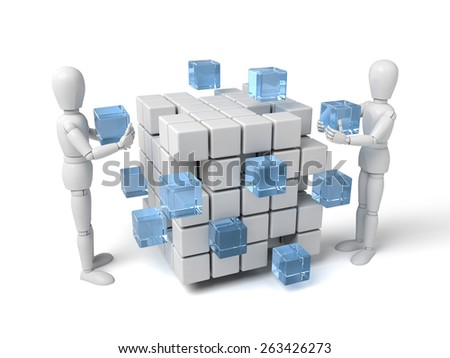 3d people with some cubes. 3d image. Isolated white background