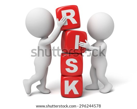 3d people with some cubes, the word of risk. 3d image. Isolated white background.