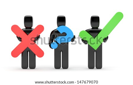 3d people with symbols. Accept or abort - stock photo