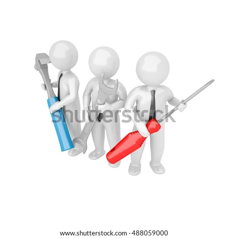 3D People with the tools in the hands of isolated white background