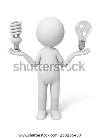 3d people with two bulb. 3d image. Isolated white background