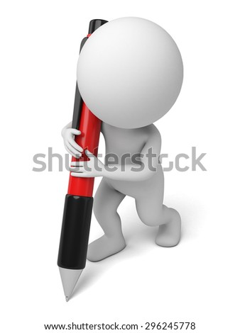 3d people writing with a pen. 3d image. Isolated white background.
