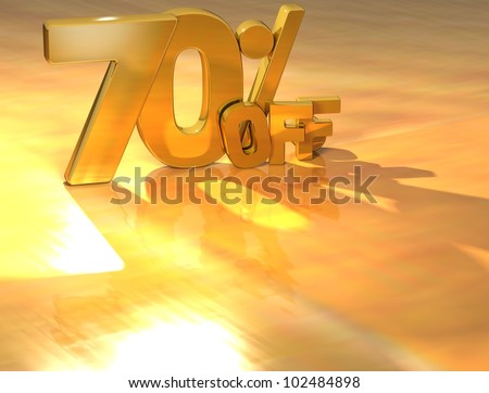 3D 70 Percent Gold Text over yellow background - stock photo