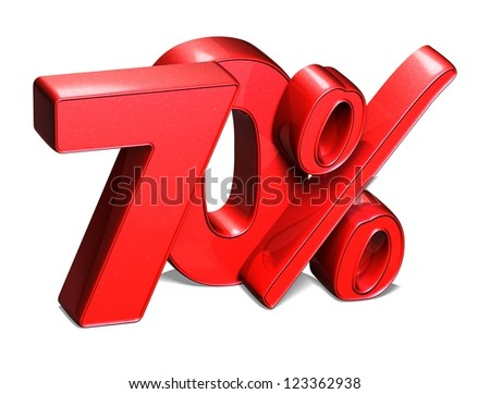 3D 70 Percent on white background - stock photo