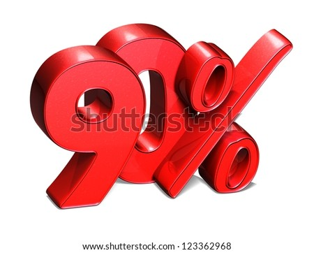 3D 90 Percent on white background - stock photo