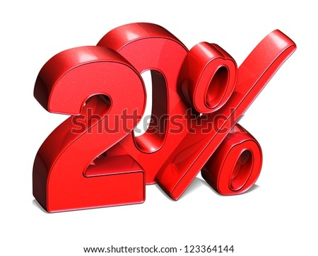 3D 20 Percent on white background - stock photo