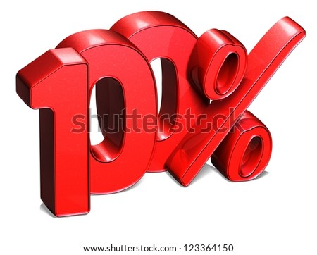 3D 100 Percent on white background - stock photo