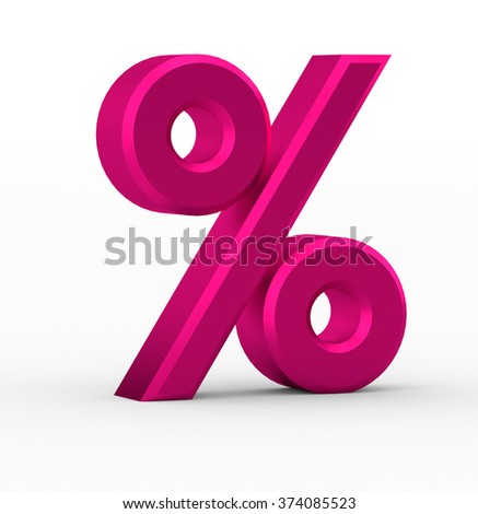 3d percent sign isolated on white background