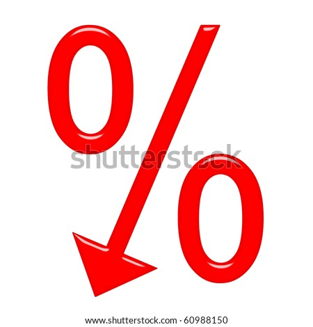 3d percent symbol with arrow directed down - stock photo