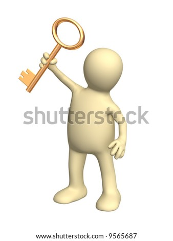 3d person a puppet holding in a hand a gold key. Objects over white - stock photo
