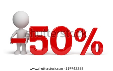 3d person advertises 50 percent discount. 3d image. Isolated white background.