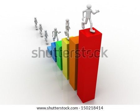 3d Person and a financial graph. Businessman. - stock photo