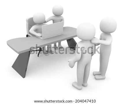 3d person and a laptop at a office. Business partners.3d render illustration