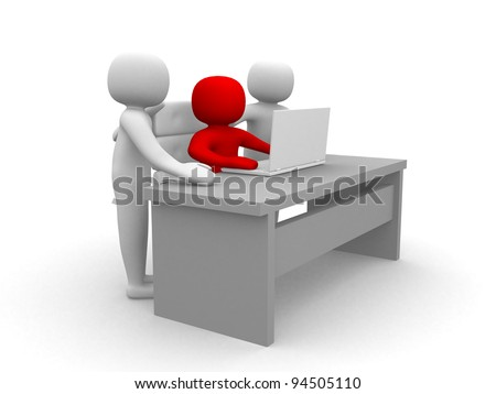 3d person and a laptop at a office - 3d render illustration